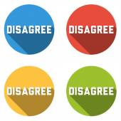 Collection of 4 isolated flat buttons for DISAGREE — Stock Vector