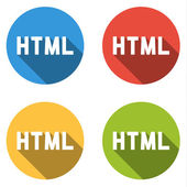 Collection of 4 isolated flat buttons for HTML (HyperText Markup — Stock Vector