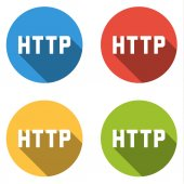 Collection of 4 isolated flat buttons for HTTP (Hypertext Transf — Stock Vector