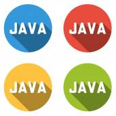 Collection of 4 isolated flat buttons for JAVA (computer program — Stock Vector
