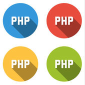 Collection of 4 isolated flat buttons for for PHP (server-side s — Stock Vector