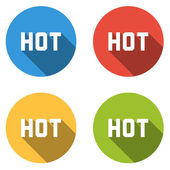 Collection of 4 isolated flat buttons for HOT (offer, price, dea — Stock Vector