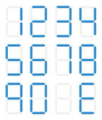 Collection of isolated digital numbers in blue color — Stock Vector