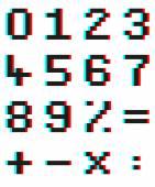 Pixel čísel a matematické symboly s Anaglyph 3d efekt — Stock vektor