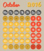 Month planning calendar - October 2016 — Stock Vector