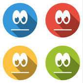 Collection of 4 isolated flat colorful icon emoticons for neutra — Stock Vector