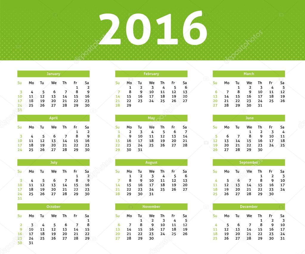 calendrier de l 39 ann e 2016 dans le style de demi teinte ligh vert anglais image vectorielle. Black Bedroom Furniture Sets. Home Design Ideas