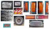Headlight, tire, tail light, stop of lorry — Stock Photo