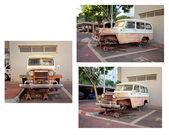 Velho willys jeep station wagon sem rodas fica em palafitas — Fotografia Stock
