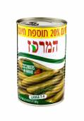 Can of Cucumbers in Brine Hamerkas — Stock Photo