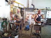 Czech glassmakers working — Stock Photo