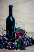 Wine bottles with glass and red grapes , wooden background — Stock Photo