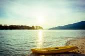 Yellow kayak on the sea. Kayaking on island — Stock Photo