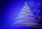 Blue card christmas tree no text — Foto de Stock