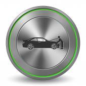 Car 13, Metal Icon, Button — Wektor stockowy