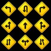 Directional Arrows Yellow Signs — Cтоковый вектор