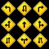 Directional Arrows Yellow Signs — Vetorial Stock