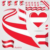 Set of Vector Flag of Austria — Stock Vector