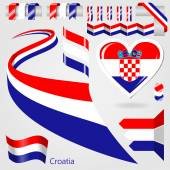 Set of Vector Flag of Croatia — Stock Vector