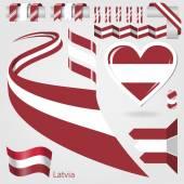 Set of Vector Flag of Latvia — Stock Vector
