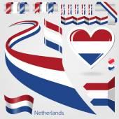 Set of Vector Flag of Netherlands — Stock Vector