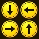 Постер, плакат: Directional Arrows Yellow Signs