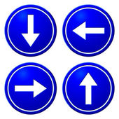 Directional Arrows Blue Signs — Stok Vektör