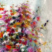 White, pink and red flowers, art painting — 图库照片
