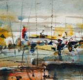 Boats in the harbor, abstract painting — Zdjęcie stockowe