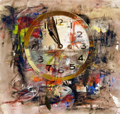 Time, art acrylic painting on paper and mixed media — Stock Photo