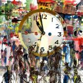 People and Time, watercolor and mixed media — Stok fotoğraf