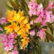Pink and yellow flowers, gouache painting — Stock Photo #75731247