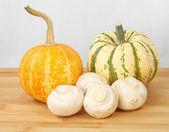 Decorative pumpkin squash and mushrooms — Foto de Stock