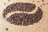 Coffee beans in the form of bean — Stock Photo