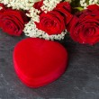 Heart Shape Gift Box, and red Roses bouquet — Stock Photo #65142841