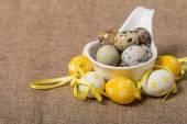 Easter eggs in white bowl — Stock Photo
