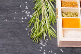 Wooden box of spices and fresh rosemary  — Stock Photo