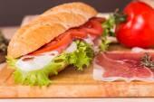 Sandwich from fresh baguette — Stock Photo
