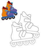 Roller skates - coloring page — Stock Photo