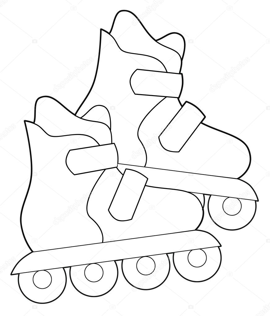 Roller skates coloring pages - Stock Photo Roller Skates Coloring Page