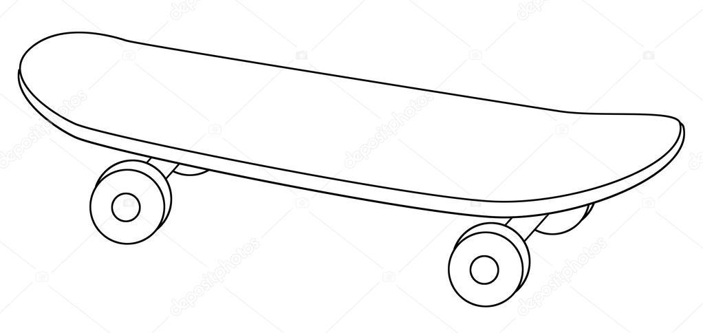 Desenho De Skate Para Imprimir: Página Para Colorir