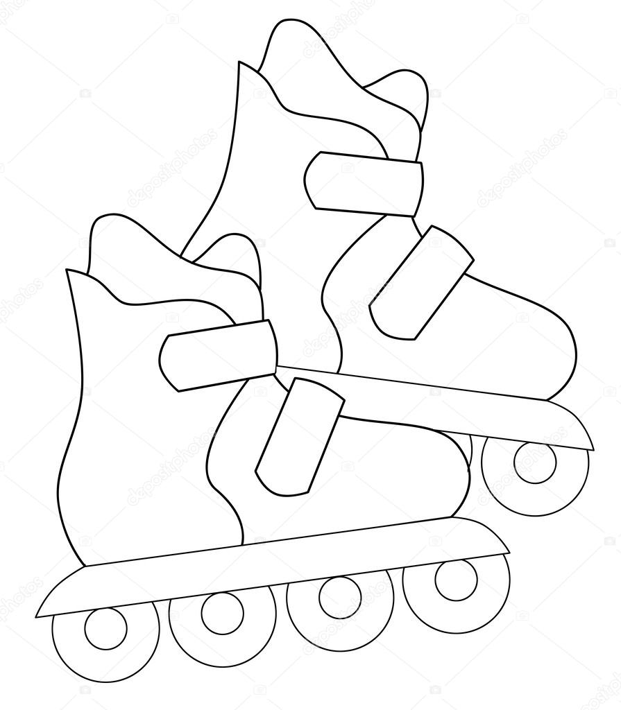 Roller Skates Color Drawing Activity Coloring Page