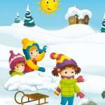 Winter cartoon with children — Stock Photo #53531479