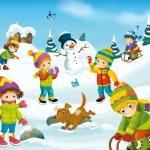 Winter cartoon with children — Stock Photo #53531593