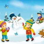 Winter cartoon with children — Stock Photo #53531631