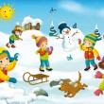 Winter cartoon with children — Stock Photo #53531635
