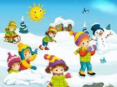 Winter cartoon with children — Stock Photo