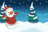 Christmas scene with snowman — Stock Photo