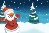 Jul scen med snögubbe — Stockfoto
