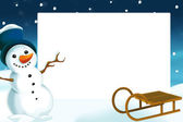 Christmas frame with snowman — Stock Photo